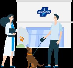 Client devant une clinique